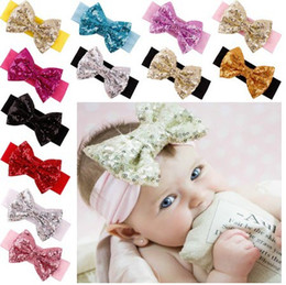 Accessori per capelli a maglia per neonati online-2016 New Posh Girls Headband, Knit Cotton Girls Heaband, Accessorio per capelli con paillettes Big Bow, paillettes Bow Headwraps per bambini