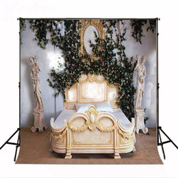 Wholesale princess paint - Indoor Room Princess Bed Wedding Photography Backdrops Vinyl Green Leaves White Flowers Studio Photo Shoot Background Vintage