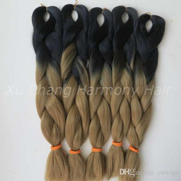 Wholesale Remy 27 Piece Hair - Kanekalon Jumbo Box Braiding Synthetic Hair 20 inch 100g Black&27 Ombre Two Tone Xpression Hair Extension
