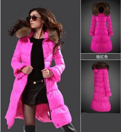 Wholesale Women S Down Filled Coat - New 2017 Lady long down jacket Outdoor fashion long coat Fill white duck down Pink Womens Down coat placket buttons and zippers