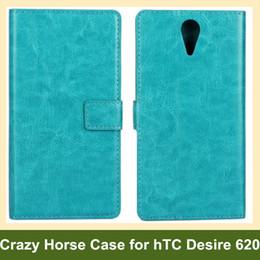 Wholesale Crazy Horse Pattern Flip - Wholesale For hTC Desire 620 Case Crazy Horse Pattern PU Leather Wallet Flip Cover Case for hTC Desire 620 Free Shipping