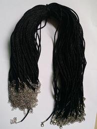 Catena di piombo online-100pcs nero raso collana di seta cavo 2.0mm / 18 '' 20 '' 22 '' 24 '' con 2 '' estensione catena Leadnickel gratis