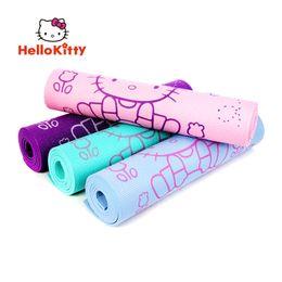Wholesale Pvc Mat Yoga - Wholesale-Hello Kitty Yoga Mat 8mm Thick Pilates Folding PVC Workout Exercise Fitness Pad Washable Non Slip Floor Play Purple 173 x 61cm