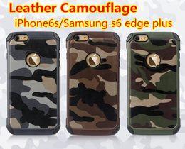 2019 camo couvre iphone S6 Edge Plus Camo Cases 2 en 1 Tpu En Cuir Housse de Protection Pour Apple 6s Plus Iphone6 Samsung Note4 Note5 G530 Combinaison Hybride Housses de protection promotion camo couvre iphone