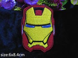 Wholesale Diy Accessory Applique Iron Badge - 2015 6cm*8.4CM iron Man Badge embroidered Appliques DIY accessory garment bag hot paste patch