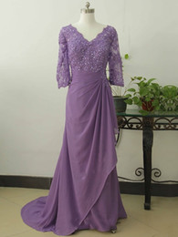 Wholesale Half Sleeves Tops - Plus Size Lace Top Mothers Dresses Half Sleeve Lavender Ruffled Chiffon Skirts Mother Of Bride Dresses 2017 Groom Gowns