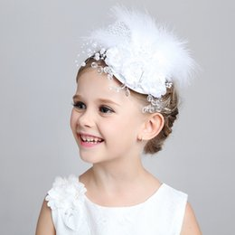 Wholesale Wedding Hair Accessories For Children - 015 New Arrival Children Hair Accessories Handmade Flower Performance Head Pieces For Girls Wedding Junior Bridesmaid Kids Clips In Stock