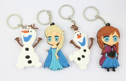 Wholesale White Princess 3d Cartoons - new 3D Cartoon Movie Frozen rubber keychain Princess Elsa Anna Olaf keychains dolls