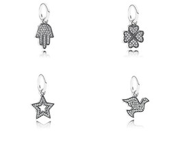 Wholesale Peace Wings Pendant - 100% 925 Sterling silver heart charm bracelets fits DIY bracelet and necklace stars cup eye wing peace Clover hand pendants