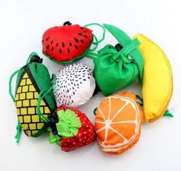 Wholesale Cartoons Shopping Bags - 28pcs lot 7Styles Cute Useful Fruit Watermelon Pitaya Foldable Eco Reusable Shopping Bags 39cm x37cm GB015