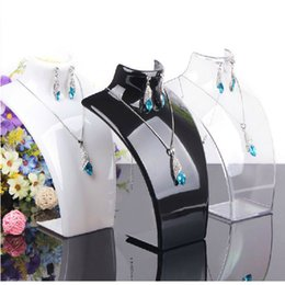 Wholesale Cheap Jewelry Holders - Earring Necklace Jewelry Set Neck Model Cheap Resin Acrylic Jewelry Display Stand Mannequin Plastic Pendant Holder Rack