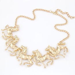 Wholesale Horses Sweater Women - Fashion Women Sweater Accessories Gold and Silver Plated Horse Pendant Necklace Pendant jewelry Statement Necklace