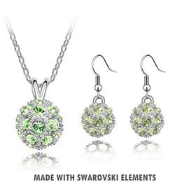 Wholesale Swarovski Rhinestone Silver Balls - Jewelry Sets Fashion Swarovski Element Crystal 18K White Gold Plating Necklace Earring Beautiful Shambhala Ball Design 048