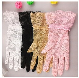 Wholesale Ladies Driving Gloves Uv Protections - Women Golvers Fashion Lace UV Gloves Lady Accessories Bride Tulle Flowers Hollow Short Ruffles Glove Car Drive Sun Protection Hand Wear