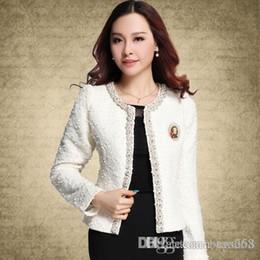 Wholesale Suit Jacket White For Woman - New Blazer for Women Coats Vintage Diamonds Feminino Jackets Formal Lady Suit Office Work Wear Top Cardigans White,Black