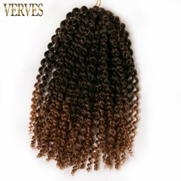 Wholesale Synthetic Hair Extentions - VERVES 1 pack 60g pack brown,blond,black crochet braids hair synthetic 12 inch curly Braid ombre braiding hair extentions