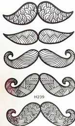 Wholesale Sexy Small Tattoos - Wholesale- 2016 NEW 10x6cm Temporary Small Fashion Tattoo Black big Sexy Moustache Waterproof Temporary Tattoo Stickers