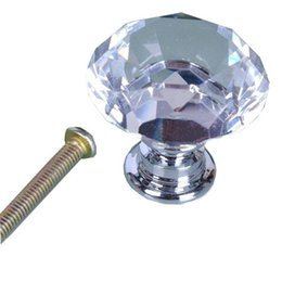 Wholesale Wholesale Use Furniture - 30mm Clear Crystal Glass Diamond Shape Cabinet Knob Cupboard Drawer Pull Handle Used For Cabinet Drawer Chest Furniture Knob