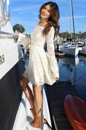 Wholesale Cowl Neck Dresses For Women - Short White Wedding Dress For Women Long Sleeve Prom Evening Gown Backless Cheap Beach Vintage Crew Sexy Importi Online Wedding Dresses 2015