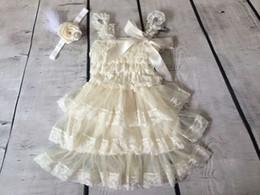 Wholesale Ivory Chiffon Flower Headband - Vintage Baby Girls Dress ,Ivory Rustic Layered chiffon Baby Dress ,Flower Girls dress matching headband Ready to Ship