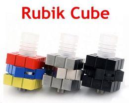 Wholesale Square Rubik - Rubik Rotary RDA Airflow Control Rotatable Rubik RDA Mod Square Magic Cube Tank Rebuildable Ecig Atomizer Vaporizer Rubik Cube RBA free DHL