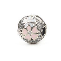 Argentina 100% Real 925 Sterling Silver Daisy Flower Bead Fit Original Pandora Charm Bracelet Auténtico Esmalte Bijoux Cubic Zirconia Joyería Mujeres Suministro