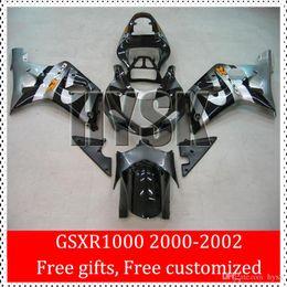 Wholesale Custom Sportbike Fairings - 2000 2001 2002 GSXR1000 GSXR 1000 GSX-R1000 Of Suzuki 00 01 02 K2 Black Silver ABS Brand New Sportbike Fairing Kits Free Custom Paint
