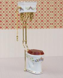 Wholesale Miniature Furniture Bathroom - Vintage Victorian style bathroom porcelain toilet doll house miniature white + gold