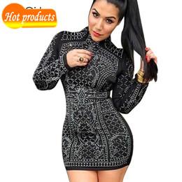 Kim nero abiti bodycon online-Estate 2016 Kim Kardashian Retro strass nero aderente abito manica lunga stretti Plus Size fasciatura abiti da festa abiti