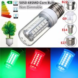 Lámpara de maíz led azul online-SMD 5050 E27 E14 B22 G9 LED lámpara 5730SMD luces LED maíz Led bombilla 27 48Leds rojo / verde / azul candelabro iluminación de la vela