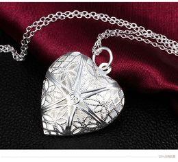 Wholesale Heart Lockets Open - 925 silver pendant heart necklace photo locket can open with chain NE119 10pcs lot