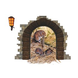 Wholesale Art Border Designs - Cute Rat Hole Wall Decal Sticker Moule's Nest Wall Art Applique Kids Room Living Room Wall Border Decor Wallpaper Decoration Wall Graphic