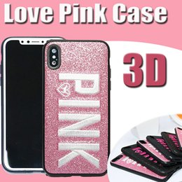 Wholesale Design Bling Case - For iPhone X Case 3D Embroidery Love Pink Design Glitter Bling Victoria Fashion Soft TPU Shockproof Letter Cover For iPhone 8 7 Plus 6 6S