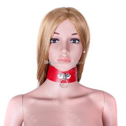 Wholesale Cosplay Sex Toys - BDSM Slave Collars with O Ring Red PU Neck Collar Bondage Gear Cosplay Adult Sex Toys for Women ASL-XQ0118