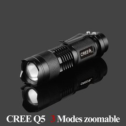 Wholesale Cree Q5 Bicycle - Portable Lighting cree Q5 led flashlight 7W high power mini zoomable 3 modes waterproof glare torch 14500  AA bicycle
