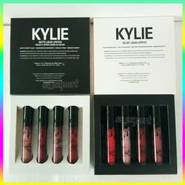 Wholesale Whitening Lip Gloss - The new Christmas gift Kylie Jenner Lip gloss 4 color Lipstick velvet Lipstick Makeup Marbl 4 colors set Matte Liquid Lipgloss