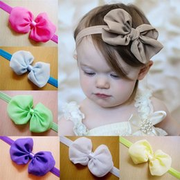 Wholesale Baby Accessories Retail - Retail 12 Colors Baby Chiffon Bow Headbands Solid Color Infant Girl Hair Bows Hair Accessories Drop Shipping C132