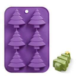 Wholesale Christmas Tree Silicone Mould - 6 holes christmas tree shape silicone cake mold silicone form for baking silicone mold tree LZ0615