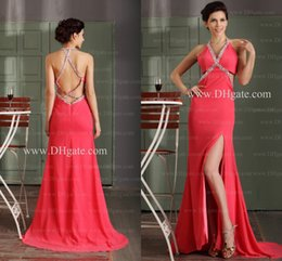 Wholesale Designer Halter Evening Gown - 2015 Split Side Sheath Prom Dresses Halter Criss Cross Backless With Sequined Chiffon Evening Party Pageant Gown Vestido de Fiesta GD-060