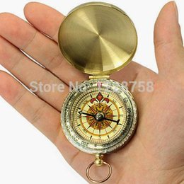 Wholesale Brass Keychain - 1pc Mini Luminous Pocket Brass Watch Style Ring KeyChain Camping Hiking Compass Navigation Outdoor Compass T1239 P