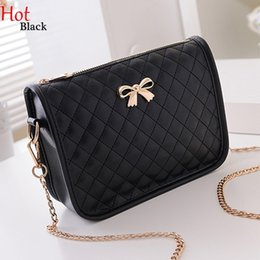 Wholesale Red Rhombus - Hot New Fashion Women Rhombus Shoulder Bags Leather Casual Bowknot Messenger Bag Crossbody Bag Handbag Black White Pink Rose Bags SV021943