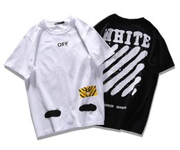 Wholesale United Tees - Hot summer Europe and United states T-shirt tee streets off white Diagonal stripes Spray painting hip hop black white palace shirts