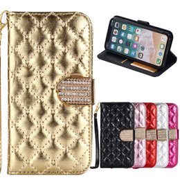Wholesale Diamond Pouch Case - Bling Diamond Wallet PU Leather Case TPU Cover For iPhone 5 SE 6 6S 7 8 Plus X iPhone8 Samsung Glaxy S6 S7 Edge S8 Note 4 5 Note8 Free Strap