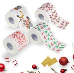 Wholesale Toilet Paper Roll Tissue Wholesale - Santa Claus Printed Toilet Paper Merry Christmas Bath Toilet Roll Paper Tissue Living Room Table Decor 300pcs OOA3740