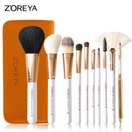 Wholesale Make Up Brushes Zoreya - Zoreya Makeup Brush Set 10 Pcs Professional Brand Makeup Brushes Tools Pu Leather Portable Beauty Make Up Brushes Wool Brush Set