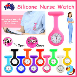 Wholesale nurse pendant watches - Silicone Nurse Brooch Tunic Fob Watch Nursing Nurses Pendant Pocket Watch Free Shipping Fob Watches Medical Nurse Watch