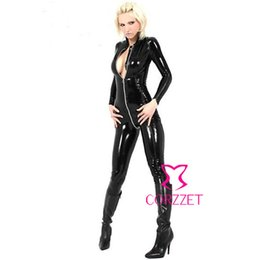 Wholesale Leather Bodysuit For Men - Wholesale-105 Faux Leather Bodysuit Sexy Costumes,Catwoman Jumpsuit with Zipper,Long Sleeve Collared Catsuit Cosplay Costume for Club