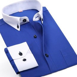 Wholesale Wool Shirt 4xl - 2015 New Mens Business Dress Shirt Men Spring Solid Color Cotton Long Sleeve Slim Fit Casual Shirt Big Size 4XL Camisa Marca