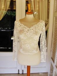 Wholesale Ivory Lace Wedding Coat Dress - Elegant Long Sleeve Bridal Jackets Cheap 2018 Bridal Wrpas Lace Appliqued Jacket Ivory V Neck Bolero Shawl Wedding Dress