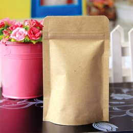Wholesale Wholesale Paper Coffee - 100pcs lot- 9*14+3cm Small stand up pouch kraft paper zip lock bag for food coffee bean tea powder packaging